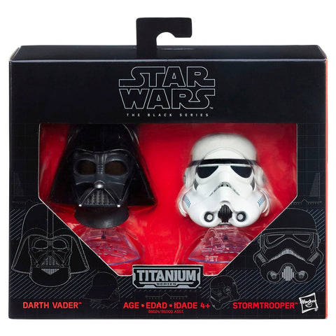Star Wars The Black Series Darth Vader and Stormtrooper Titanium Series Mini Helmets