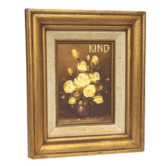 Framed Chic Upcycled Art original oil painting in gold frame