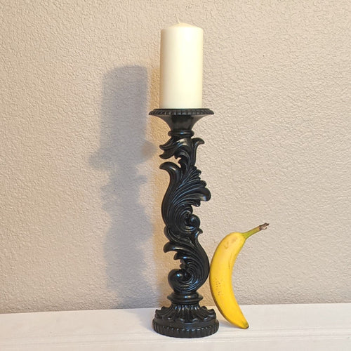 Tall candle holder, ornate scroll candle holder, black pillar candle holder, upcycled home decor  | FRAMED CHIC