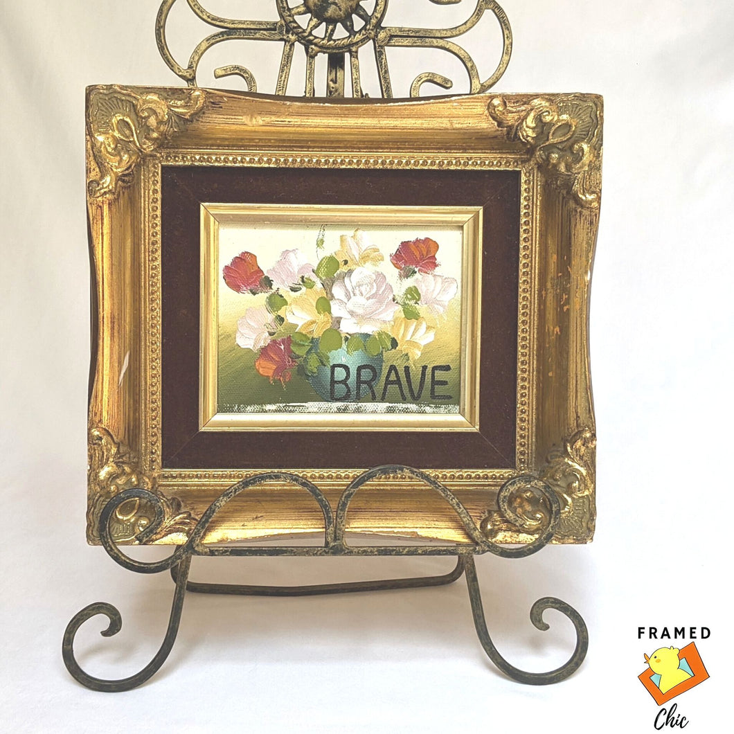 Flower Oil Painting in gold vintage solid wood frame | FRAMED CHIC
