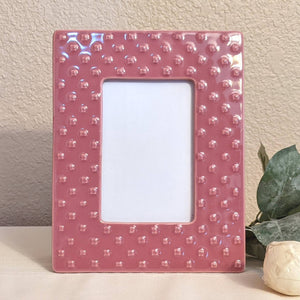 Ceramic pink picture frame, pink 4x6 picture frame, pink frame, contemporary frames, upcycled frames | FRAMED CHIC