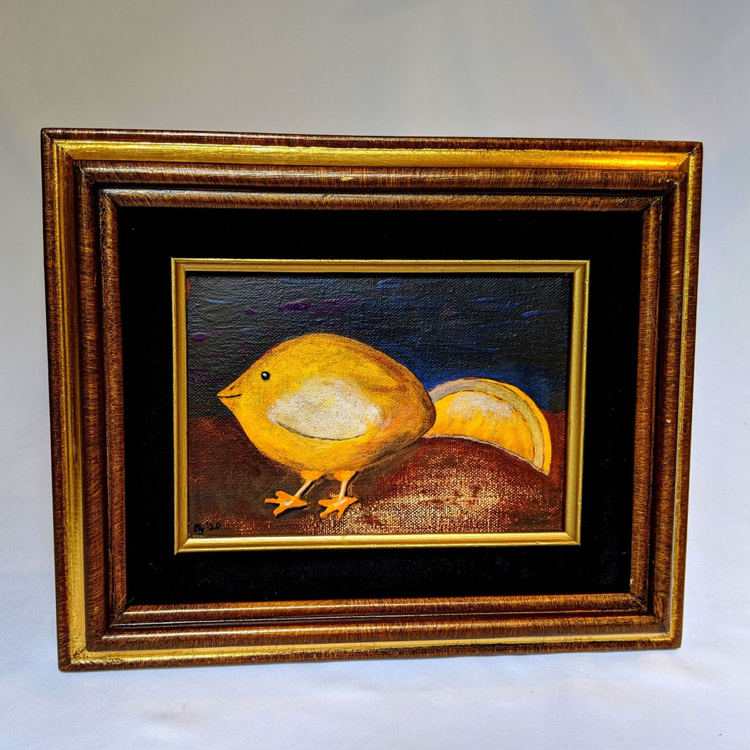 Lemon Chick Framed Canvas Painting