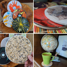 Load image into Gallery viewer, Upcycled CD coasters, upcycled gift, drink coasters, custom coasters, unique coasters, unique gift