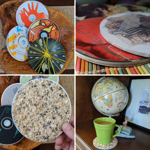 Upcycled CD coasters, upcycled gift, drink coasters, custom coasters, unique coasters, unique gift
