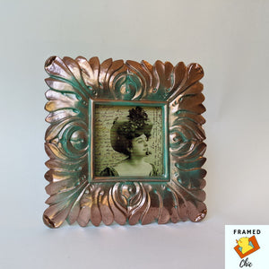 Vintage Painted Copper Patina Frame