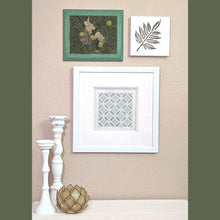 Load image into Gallery viewer, Framed Chic natural decor gallery wall. Framed moss art, unique wall art, pillar candle holder decor,leaf wall art, light up art, nature decor, plant art, upcycled art, upcycled frames, metal leaf art, metal wall art, , plant decor shop, botanical wall art, leaf wall art decor, sustainable decor