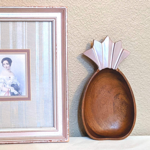 Carved Pineapple Wood Accent Decor Styled | FRAMED CHIC