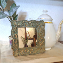 Load image into Gallery viewer, Pale Green & Gold Vintage Mirror