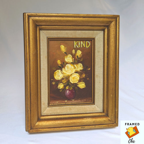 Framed Chic upcycled art, hand painted canvas, antique frame, gold frame
