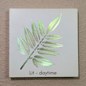 Light up elderberry leaf, Light up your life with this unique metal gallery wall art, leaf wall art, light up art, nature decor, plant art, upcycled art, upcycled frames, metal leaf art, metal wall art, backlit art, light up leaf, light up wall decor, plant decor shop, botanical wall art, leaf wall art decor, sustainable decor | FRAMED CHIC