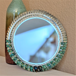 Round Accent Mirror, metal mirror, unique accent mirror, pie tart mirror, upcycled mirror, sustainable decor, unique mirror,  marble art | FRAMED CHIC