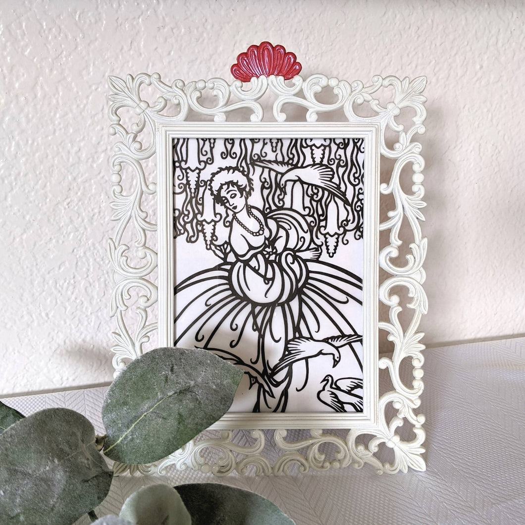 Ornate White Metal Vintage Frame