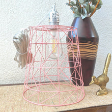 Load image into Gallery viewer, Pink Metal Cage Pendant Lamp