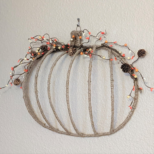 Jute wrapped pumpkin wall decor | FRAMED CHIC Upcycled home decor