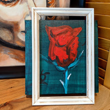 Load image into Gallery viewer, Red rose on canvas wall art (front) | FRAMED CHIC