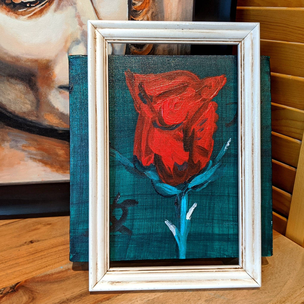 Red rose on canvas wall art (front) | FRAMED CHIC