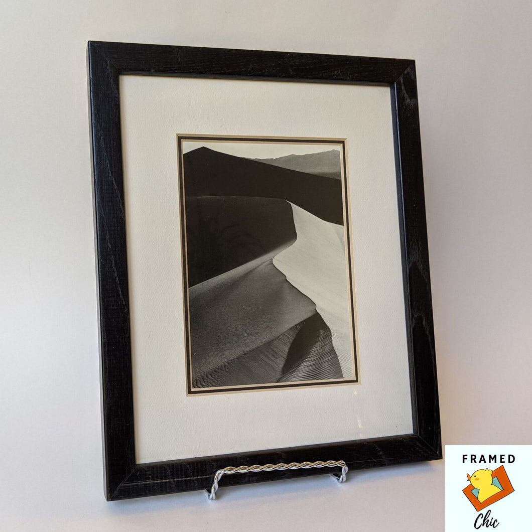 Black picture frame, black wood frame, Ansel Adams framed print, Sand dunes print, 8x10 frame, black and white art, nature print, gift for him, gift for dad, upcycled art, upcycled picture frame, Framed Chic upcycled frame, black decor, neutral decor, natural decor