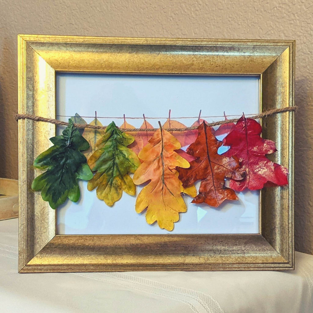 Framed art, framed fall art, gold frame, colorful leaf art, fall leaves, unique art, unique home decor, upcycled decor, upcycled picture frame, upcycled art | FRAMED CHIC