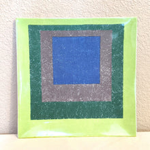 Load image into Gallery viewer, Josef Albers Study for Homage to the Square Italian porcelain charger, abstract art platter, upcycled art | FRAMED CHIC