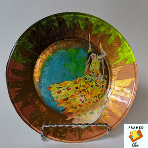 FRAMED CHIC |Original art decoupage plate. Jewelry holder. Decorative display plate.