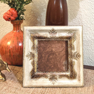 Bohemian Carved Wood Square Frame