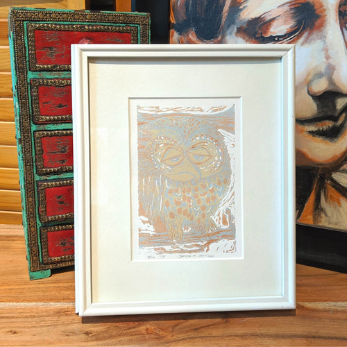 Owl original screen print framed wall art