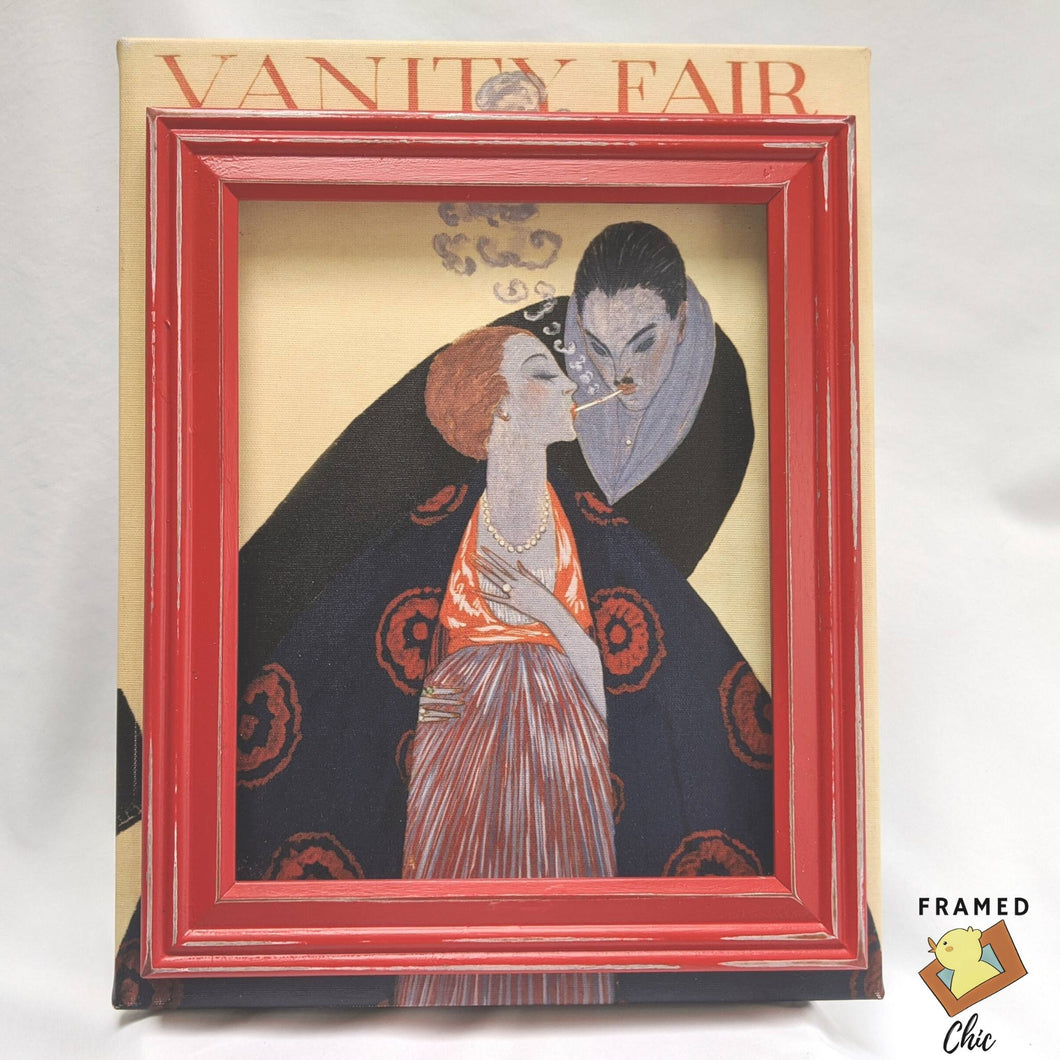 Framed chic play on vanity fair magazine cover, Couple lighting Cigarettes, art deco framed art, upcycled art, upcycled picture frame, fashion art, print on canvas, unique wall art | FRAMED CHIC