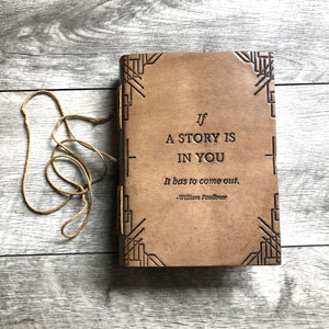 """If A Story"" Handmade Blonde Leather High Quality Premium Journal"