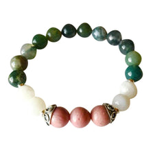 Load image into Gallery viewer, Moss Agate, Rhodonite & Rainbow Moonstone Sterling Silver Bracelet