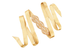 Miss Collins - Ribbon Head Wrap / Belt (Gold)