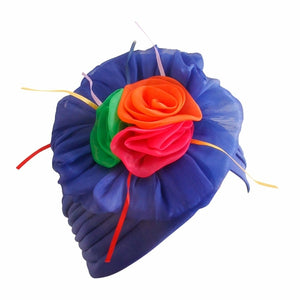 Royal Blue Pleated Flower Turban