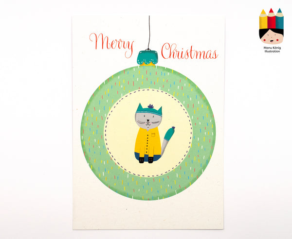 Manu König Illustration - Christbaumkugel Katze