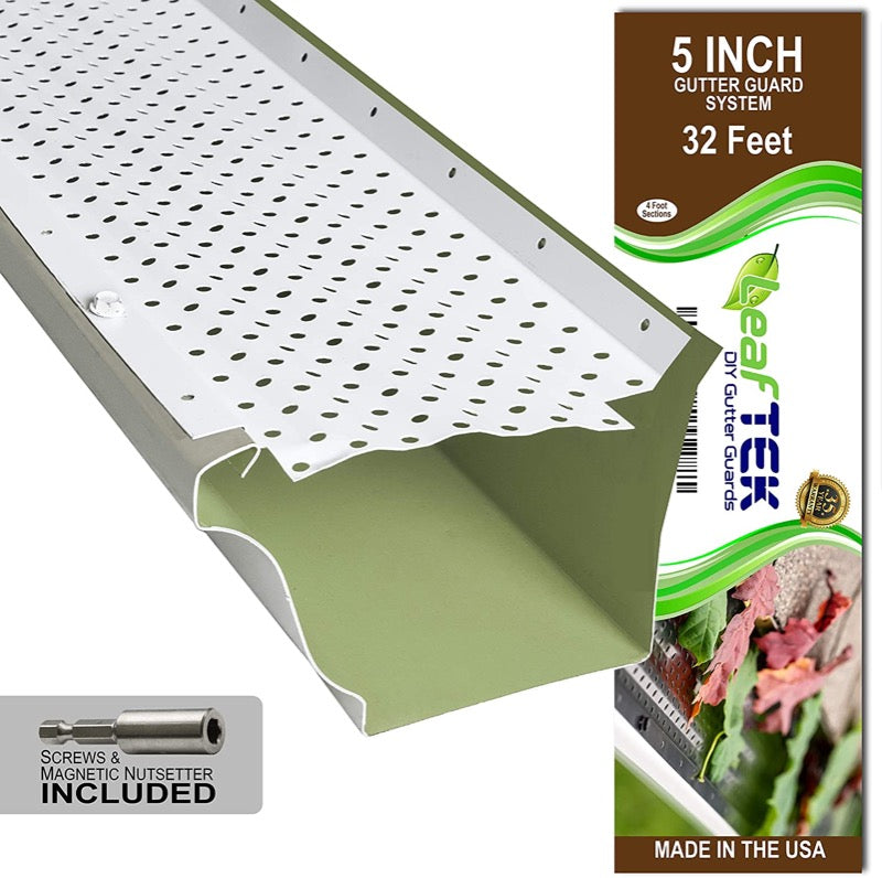 5 inch, 32 feet, white, DIY gutter guard, made in the USA
