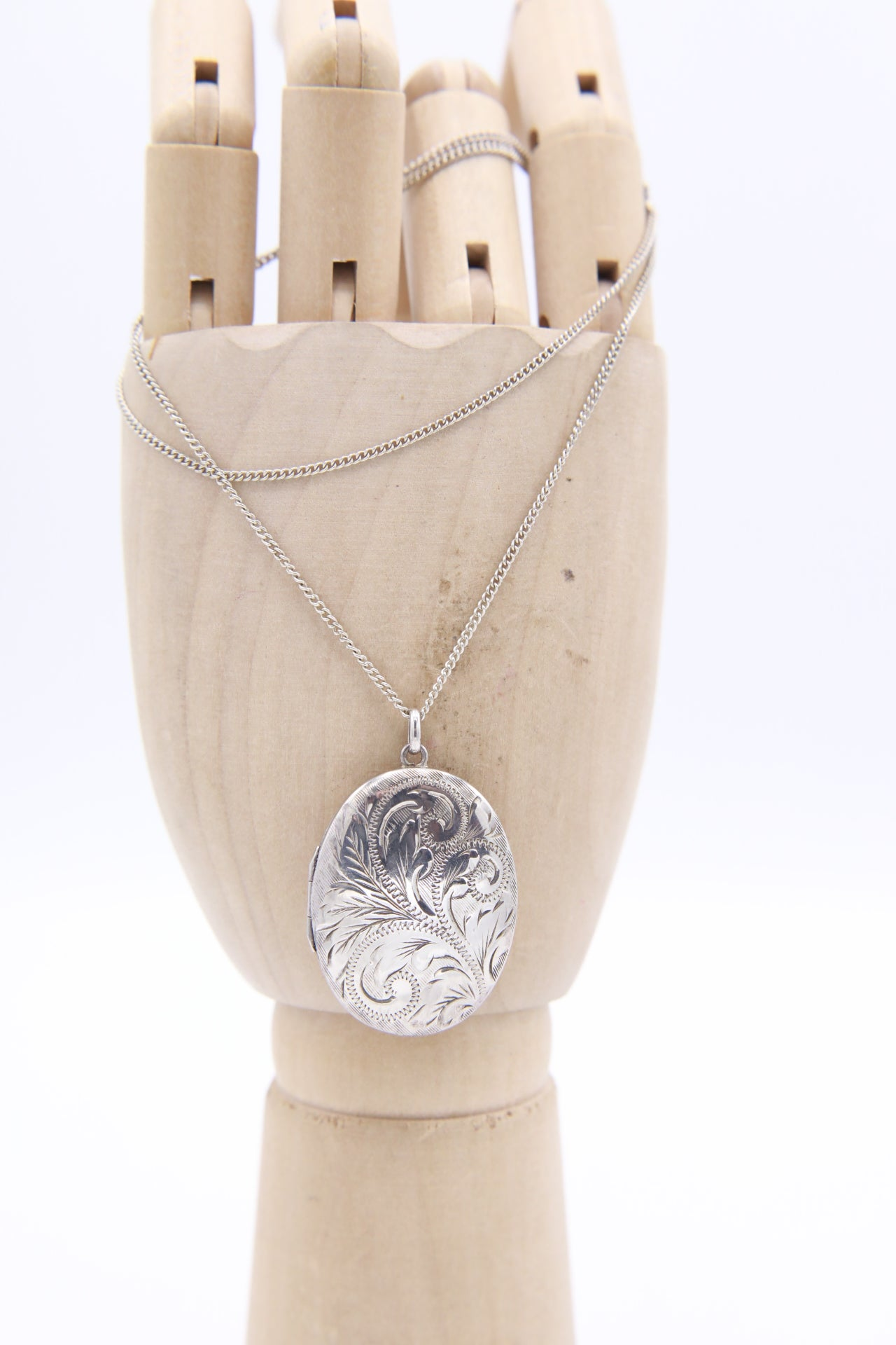 """Silver Locket"" Large vintage engraved locket with chain."