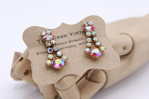 "Vintage ""Rhinestone earrings"" 1950s aurora drops."