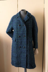 Vintage 1960s Blue and Green wool tweed coat