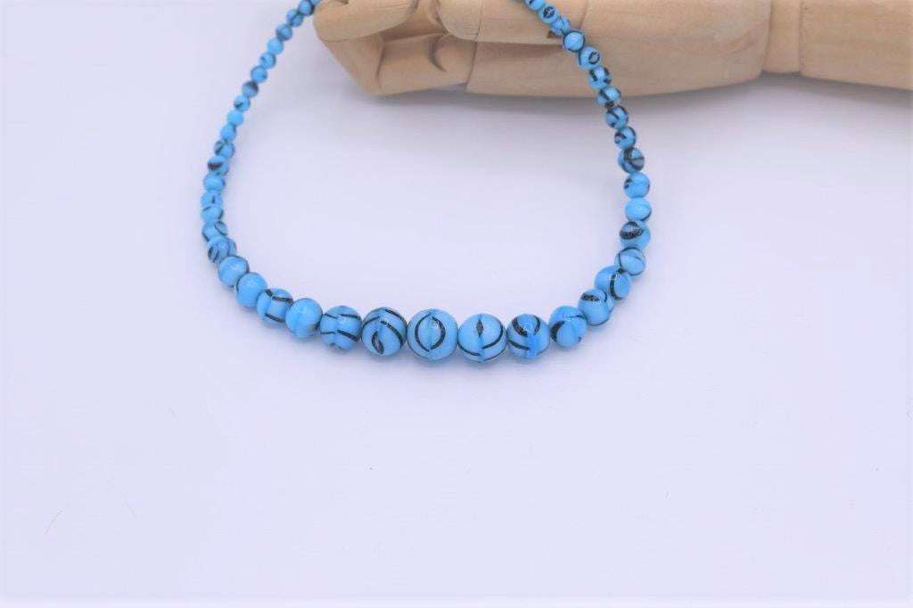 """1930s geometric"" Vintage Blue glass necklace"
