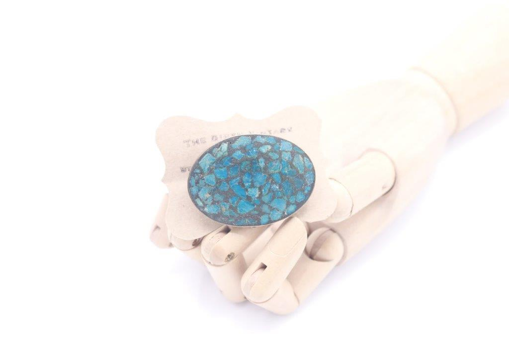 """Turquoise brooch"" 1930s Indian turquoise chip brooch"