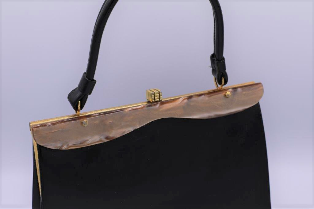 """1950s Lucite"" Black Kelly handbag"