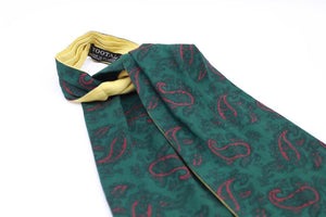 """Tootal green"" Vintage 1950s cotton rayon cravat"