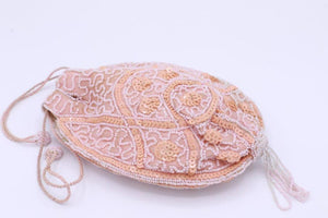 """Deco drawstring"" coin purse beaded bag."