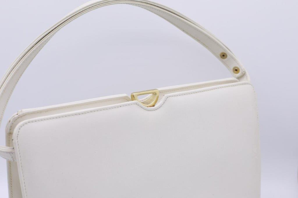 """1960s white"" Leather Kelly handbag."