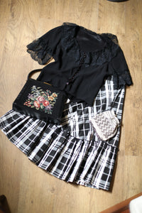 """1960s Gingham "" Round neck gypsy blouse"