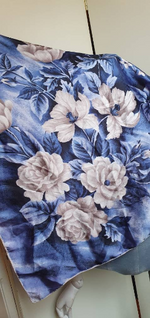 "Load image into Gallery viewer, ""Floral scarf"" 1960s large rayon satin scarf."