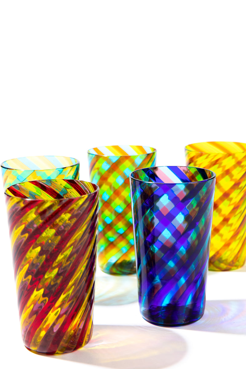 SET OF 2 CANDY STRIPE TUMBLERS