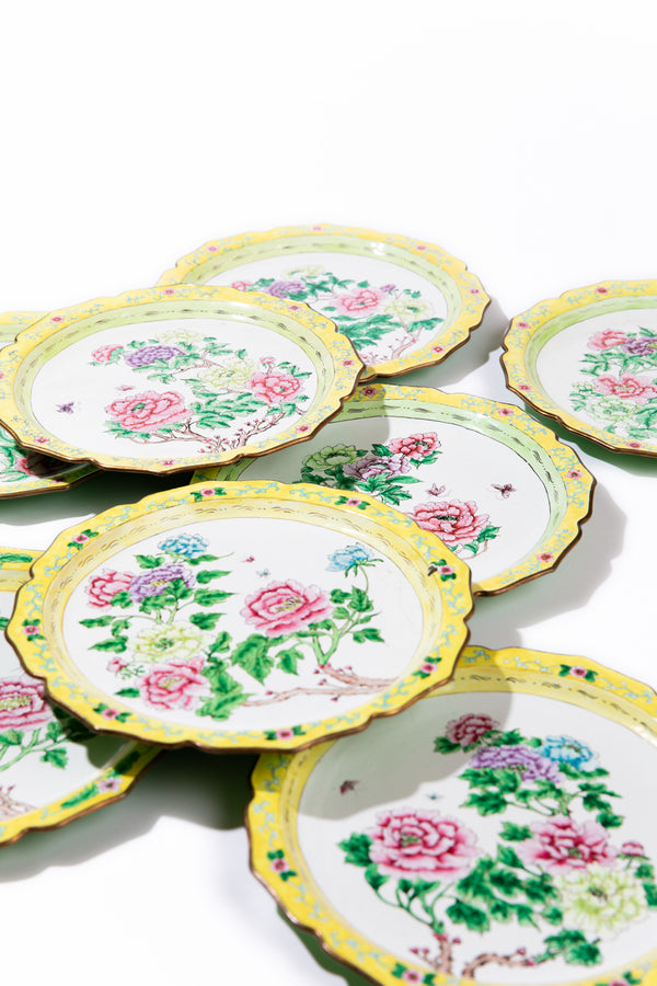 Set of 8 Vintage French Enamel Dinner Plates