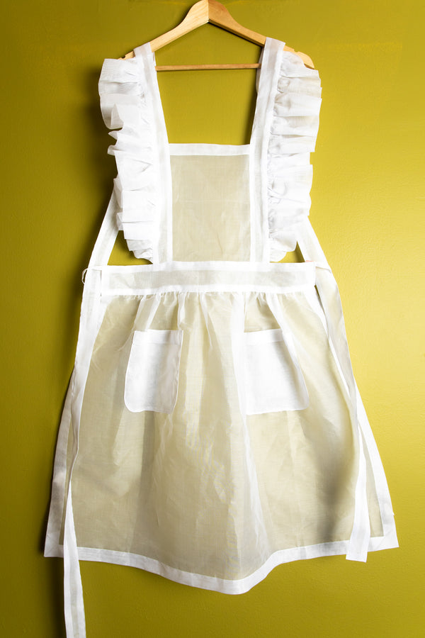 RUFFLED ORGANDY APRON