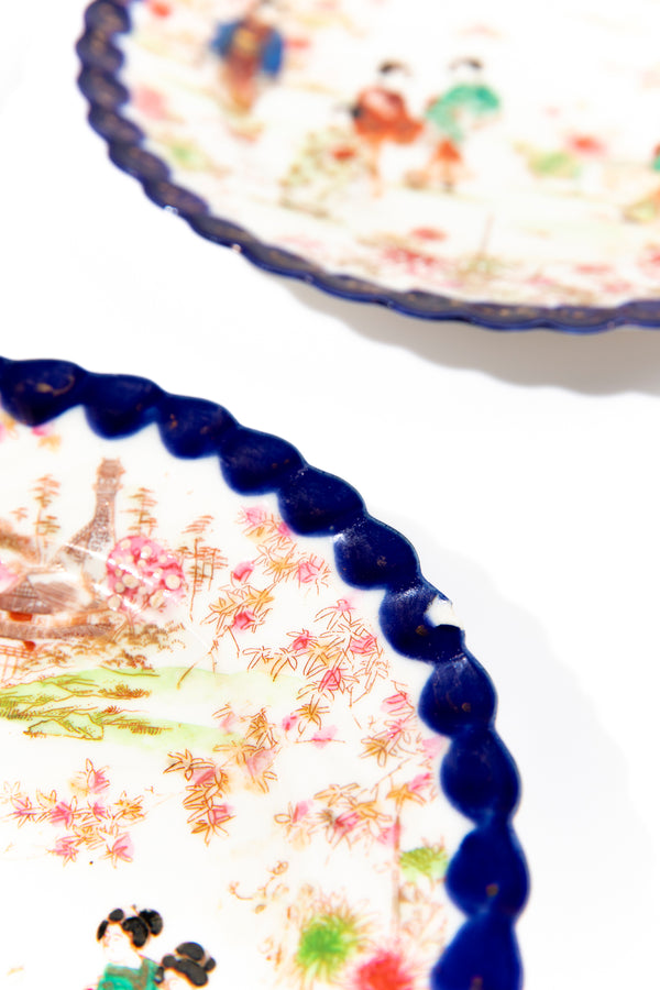 Set of 4 Vintage Blue Geisha Dessert Plates