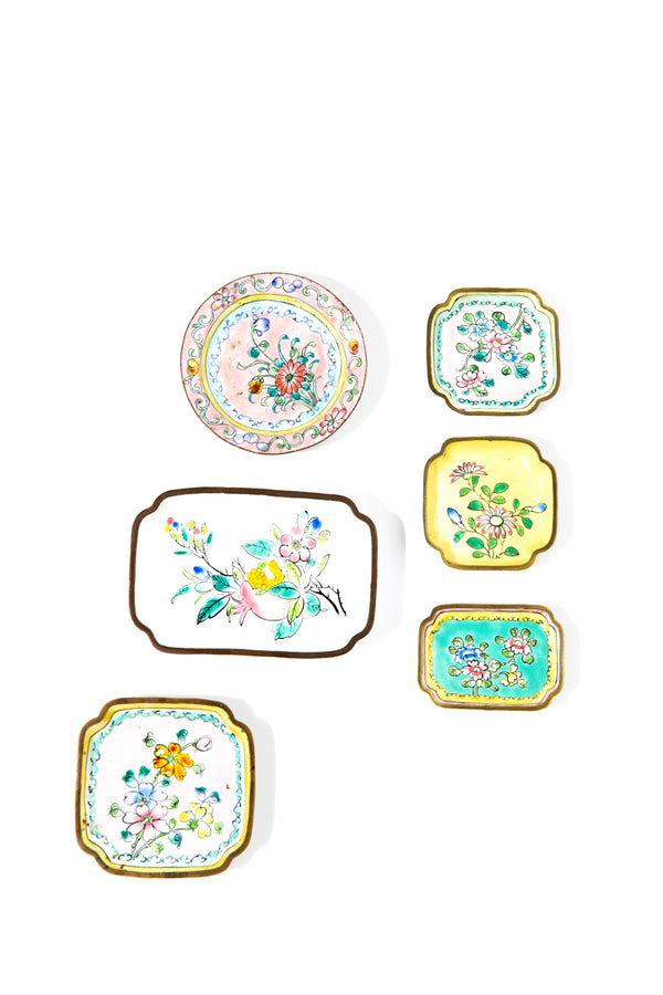 Collection of 6 Vintage Enamel Butter Pats