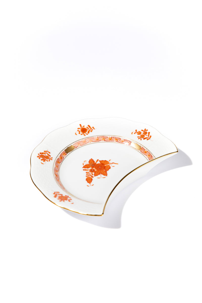 CHINESE BOUQUET RUST CRESCENT SALAD PLATE